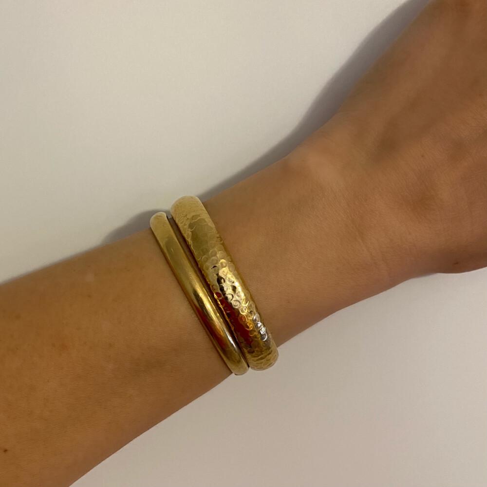 14K YG Hammered Bangle Bracelet 13.6g, c1970