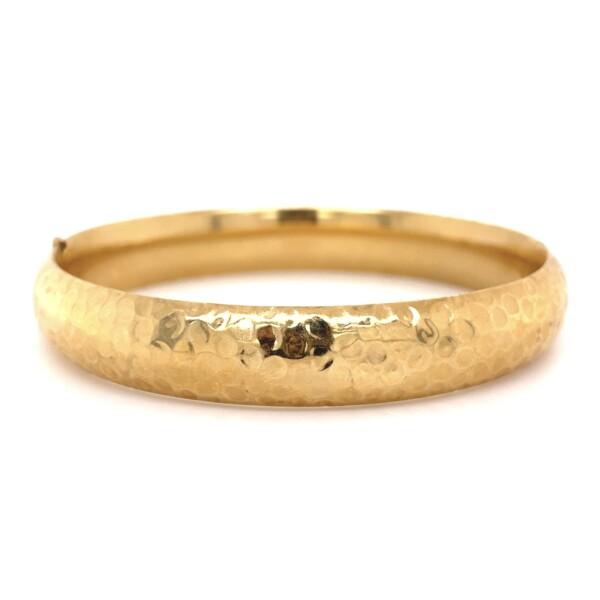 Closeup photo of 14K YG Hammered Bangle Bracelet 13.6g, c1970