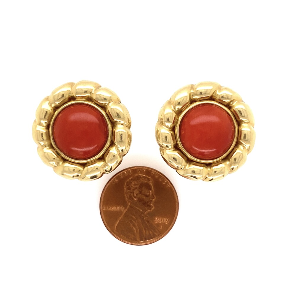 18K YG Red Coral Button Earrings 12.0g, French Clips