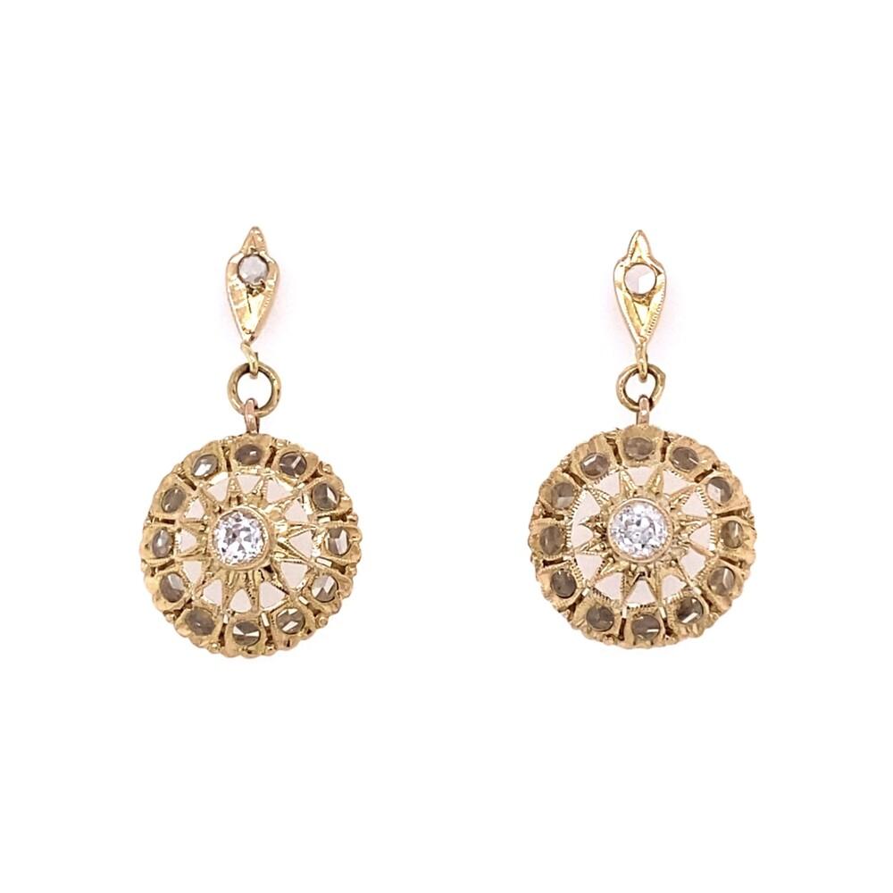 18K YG Victorian White Sapphire & Old European Diamond Earrings