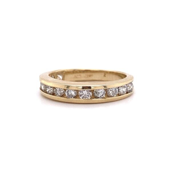Closeup photo of 14K YG 3/4 Diamond Band Ring 1.00tcw 3.1g, s6.25