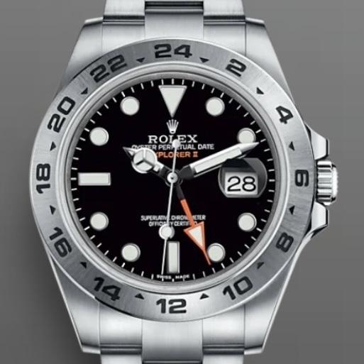 Closeup photo of Rolex 216570 Explorer II Black Dial 42mm 62T47065 BNIB
