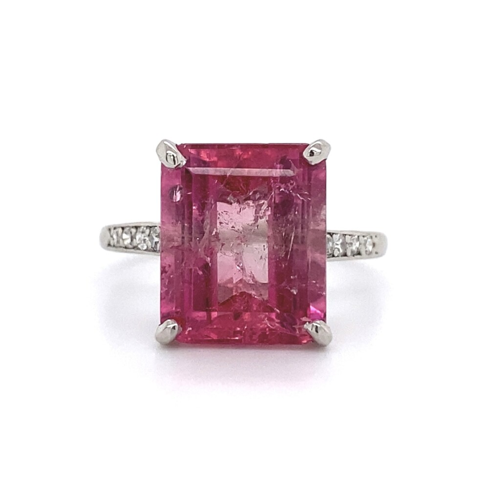 5.53ct Pink Tourmaline in Platinum & .15tcw Diamond Ring 4.8g, s6.75