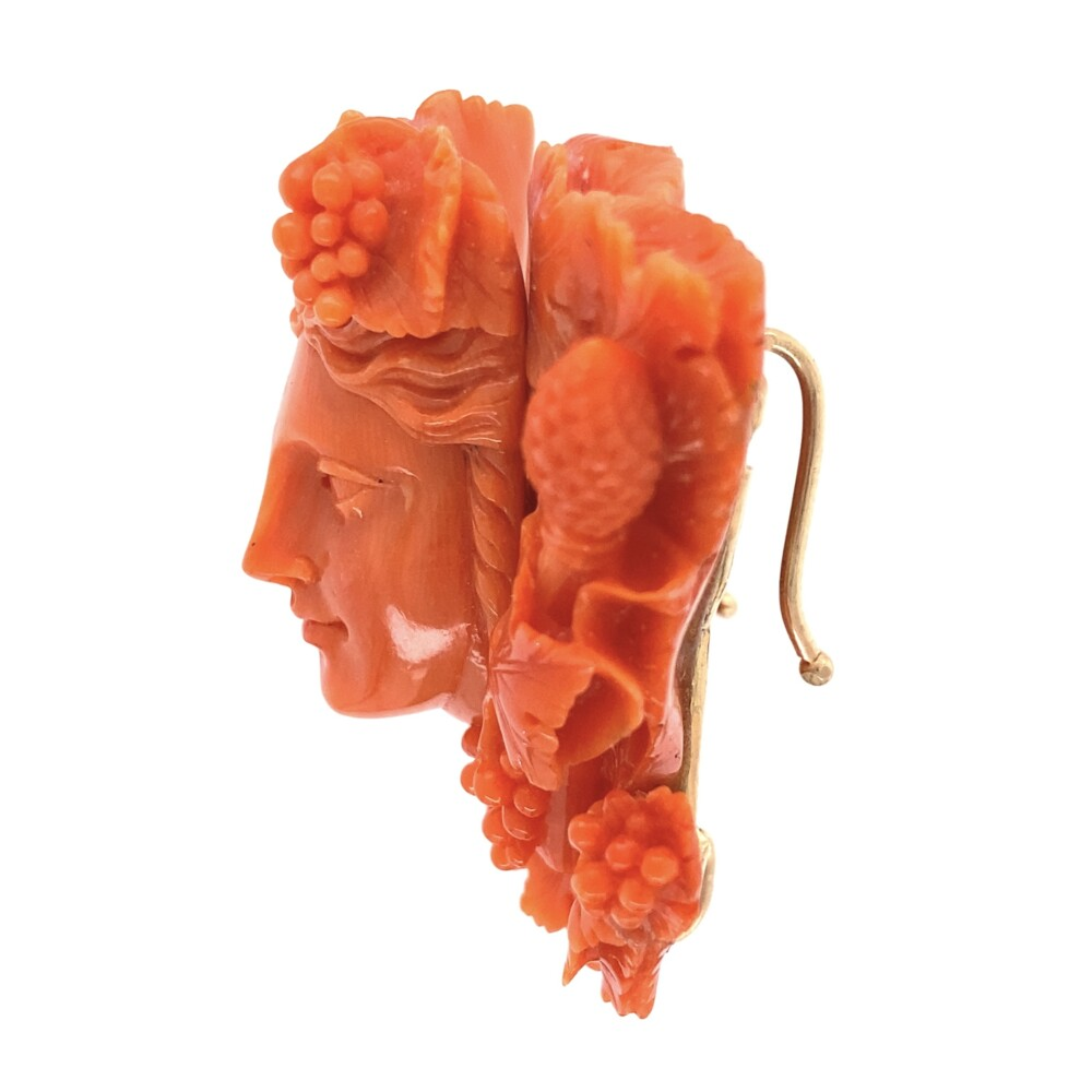 Carved Coral Bacchus Pendant Enhancer 14K YG 28.8g 1.75x2""