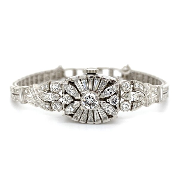 "Closeup photo of 1950's Platinum Diamond Hamilton Watch Bracelet 5.50tcw 36.5g, 7.5"""