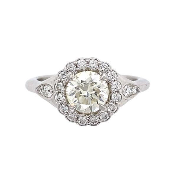 Closeup photo of 1.05ct Round Brilliant Diamond Ring Platinum & .33tcw Side Diamonds, 7.2g, s6.75