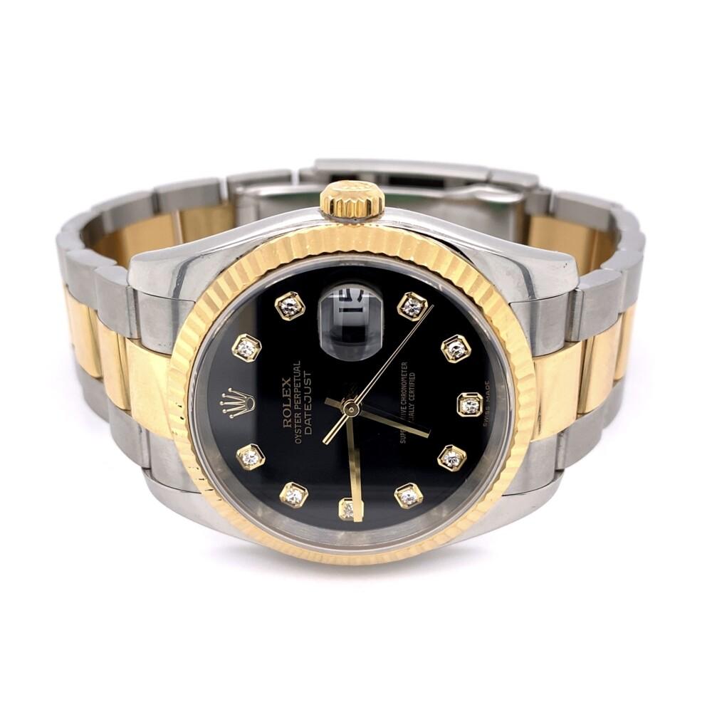 116233 Rolex 2tone 36mm Datejust Diamond Black Dial Oyster, D Serial