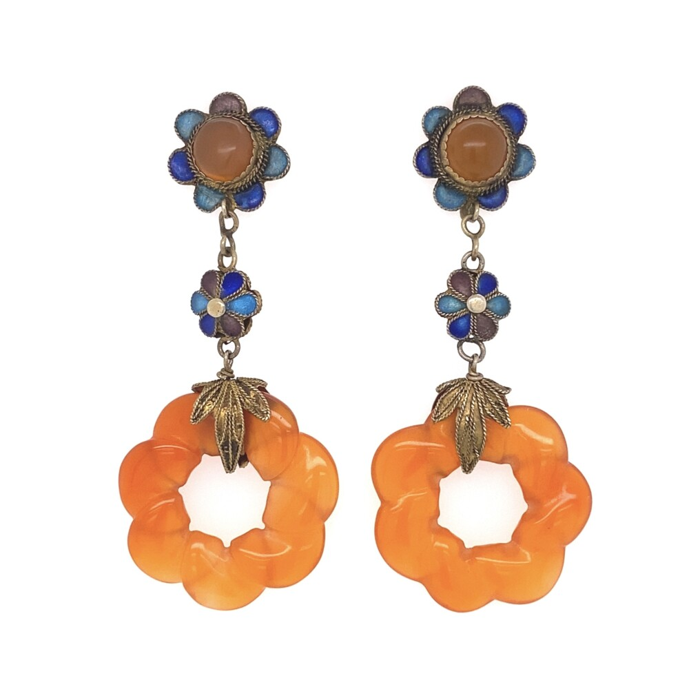 Cloisonne Drop Orange Earrings 7.5g