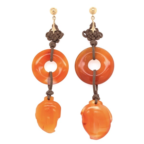Closeup photo of 14K YG Orange Jadeite Jade Drop Earrings 11.5g