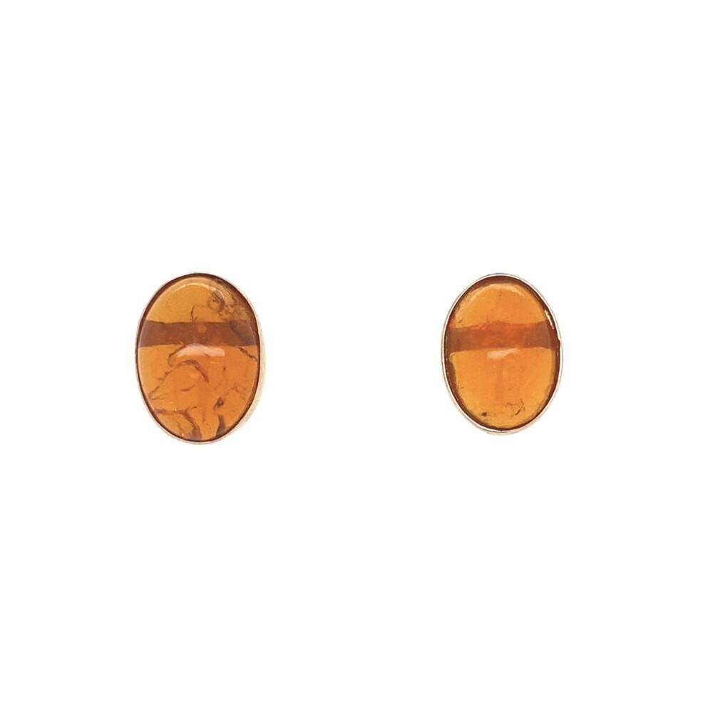 14K YG Orange Oval Fire Opal Stud Earrings 2.65g