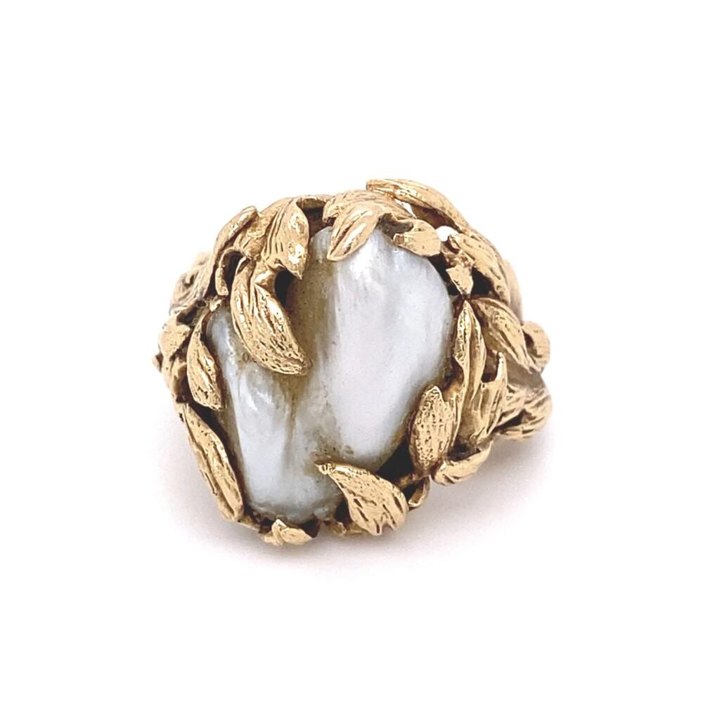 14K YG Baroque Pearl in Nugget Leaf Ring 16.5g, s6.5