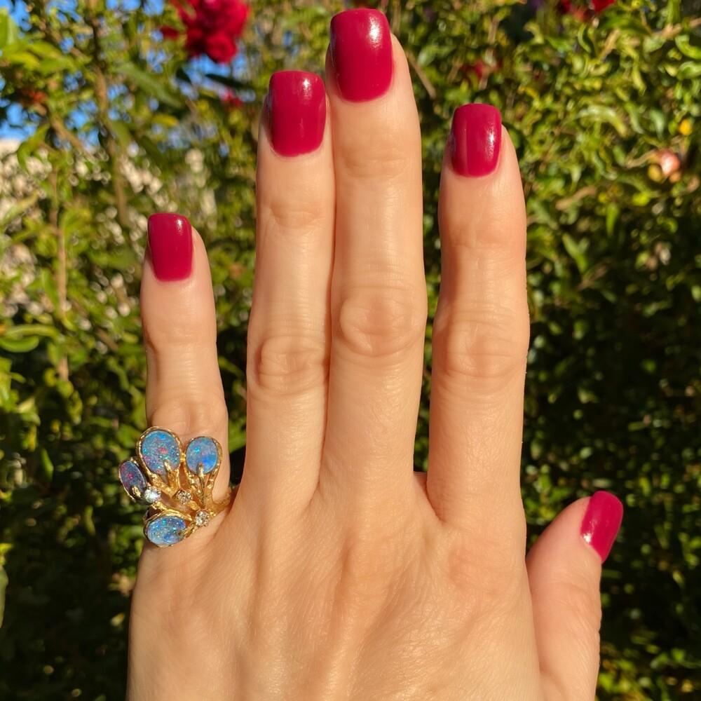 18K YG Opal & Diamond Nugget Spray Ring 7.1g, s6