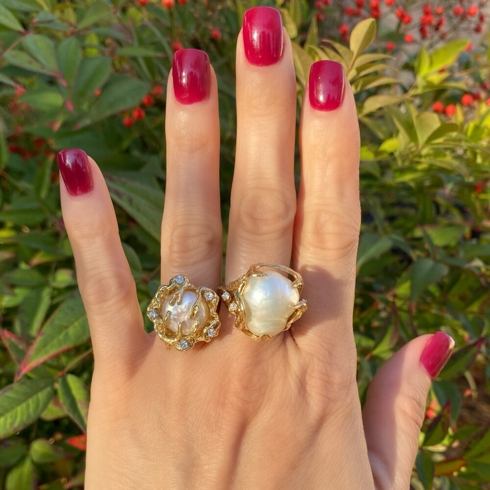 14K YG Button Pearl & .25tcw Diamond Nugget Ring 11.6, s6.5