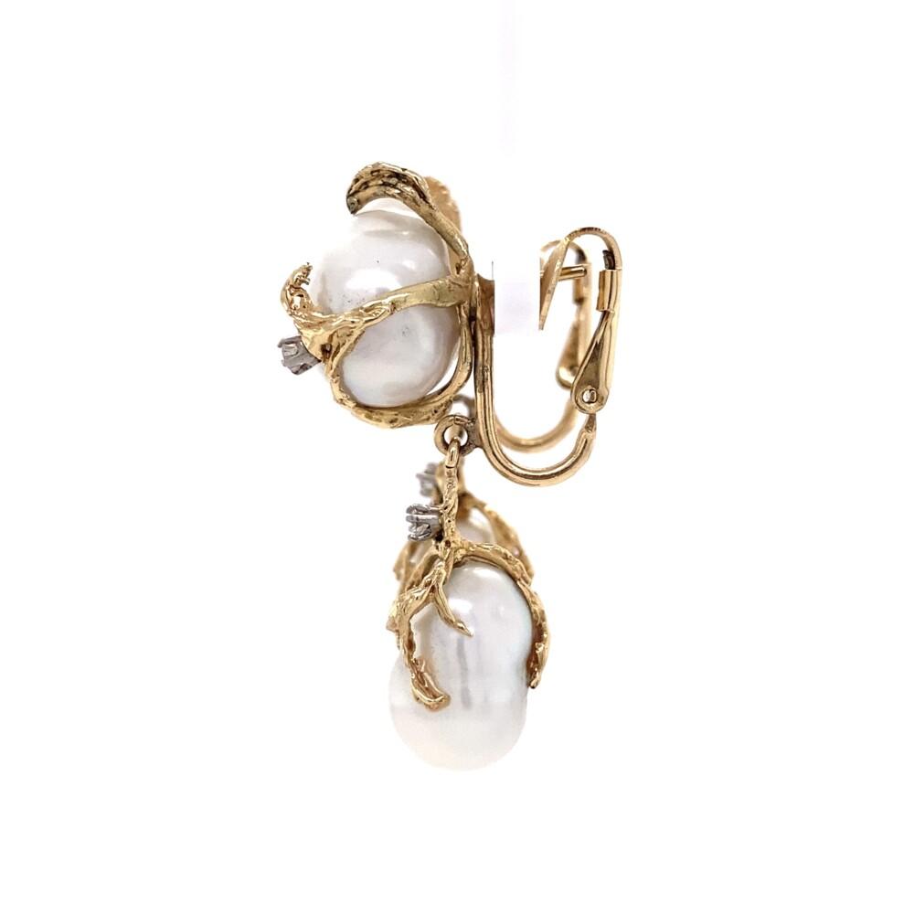 "14K YG Baroque Pearl & Diamond Nugget Drop Earrings 13.5, 1.6"" Long"