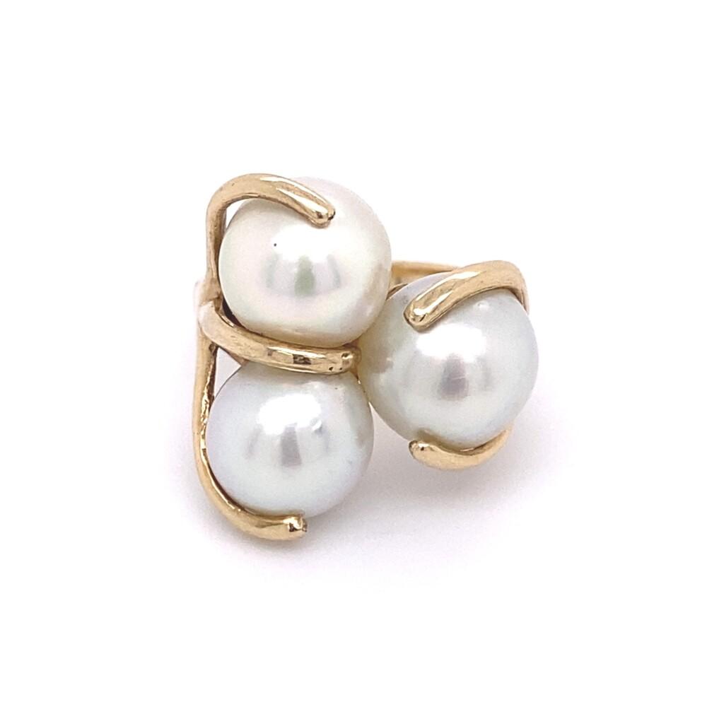 14K YG 3 White 9.5mm Pearl Cluster Ring 8.9g, s6.5