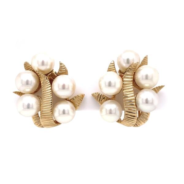 Closeup photo of 14K YG Akoya Pearl Cluster Clip Earrings 15.6g