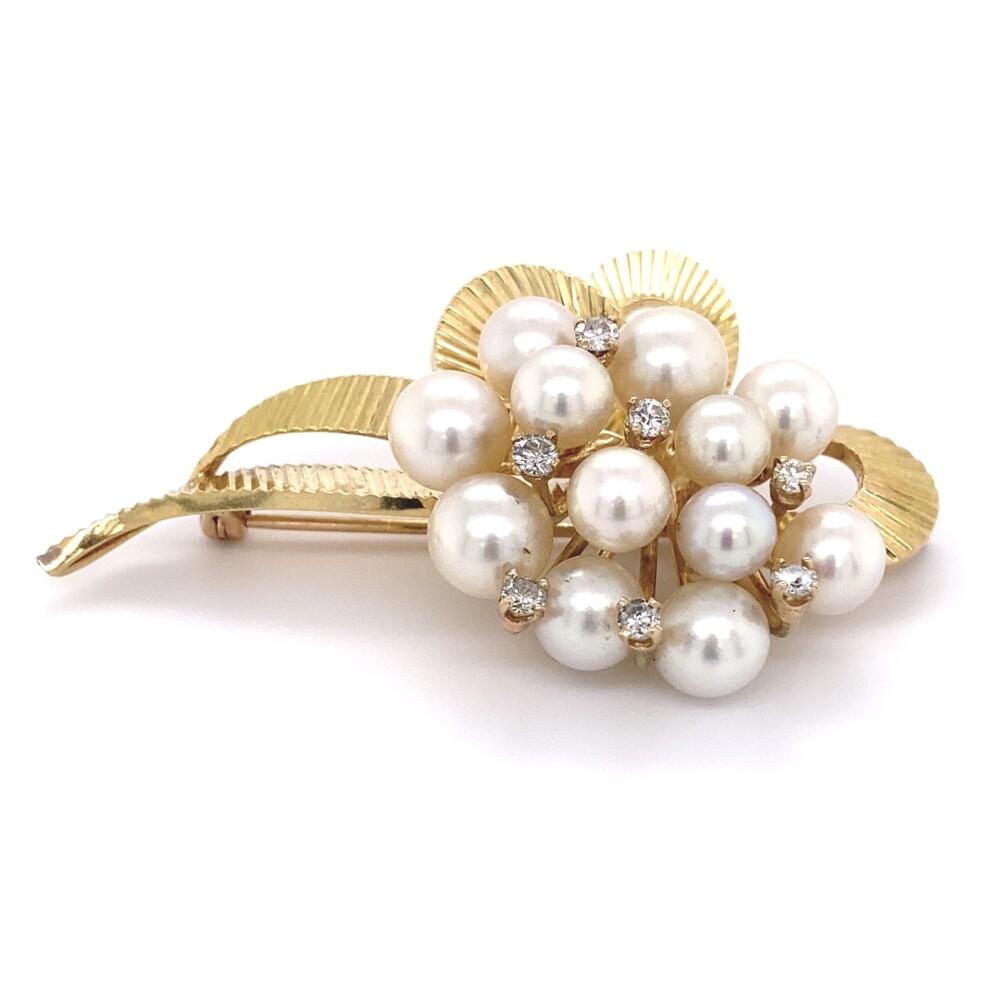14K YG Akoya Pearl & Diamond Ribbon Brooch 21.9g