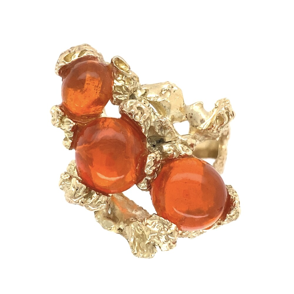 14K YG 3 Mexican Fire Opal Cluster Nugget Ring 17.0g, s8.75