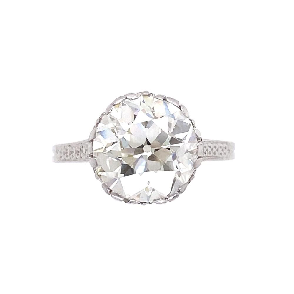 3.79ct Old European Art Deco Diamond Ring in Platinum GIA, K-VS1