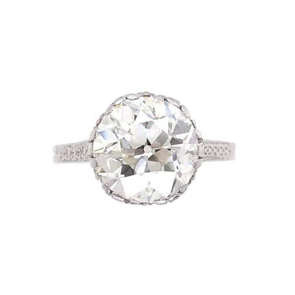 Closeup photo of 3.79ct Old European Art Deco Diamond Ring in Platinum GIA, K-VS1