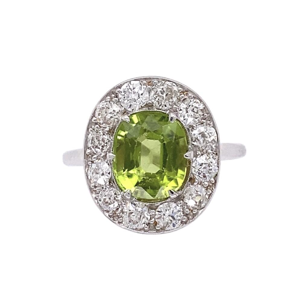18K WG Art Deco 2ct Oval Peridot & .84tcw Diamond Ring 3.5g, s6.5