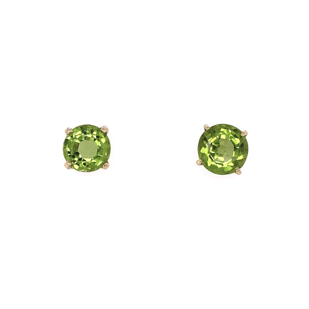18K YG Victorian 6.10tcw Peridot Stud Earrings 3.05g