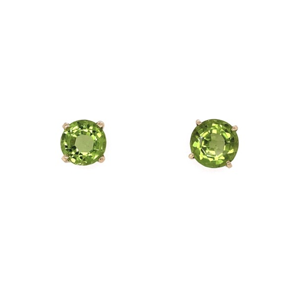 Closeup photo of 18K YG Victorian 6.10tcw Peridot Stud Earrings 3.05g