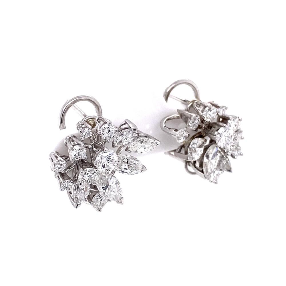 18K WG Gubelin 2.70tcw Marquis & Round Diamond Cluster Earrings 8.0g