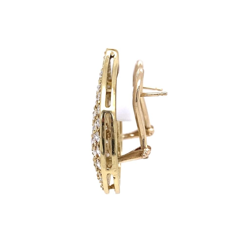 14K YG Paisly Pave 3.01tcw Diamond Clip Earrings 9.1g