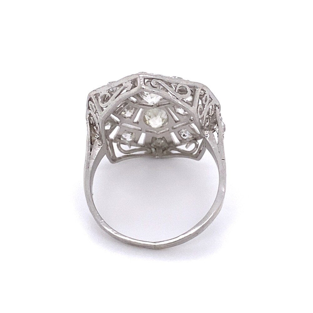 Platinum Art Deco 2.28tcw Diamond Cluster Ring with Engraving 6.2g, s7