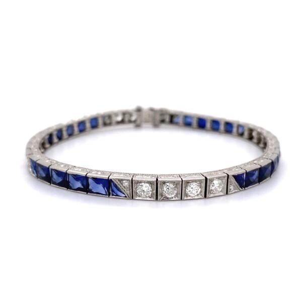 "Closeup photo of Platinum Art Deco Syn. Sapphire & Diamond Line Bracelet 18.9g, 7"""