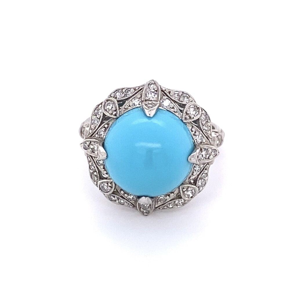 6.50ct Cabochon Turquoise & .36tcw Diamond Art Deco Ring in Platinum, s6.75