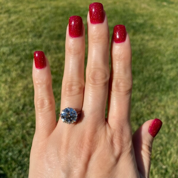 Closeup photo of 6.05ct Old European Cut Diamond in Platinum Solitaire Ring, s6.5