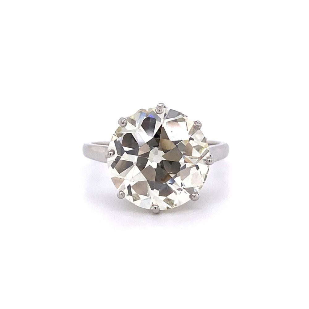 6.05ct Old European Cut Diamond in Platinum Solitaire Ring, s6.5