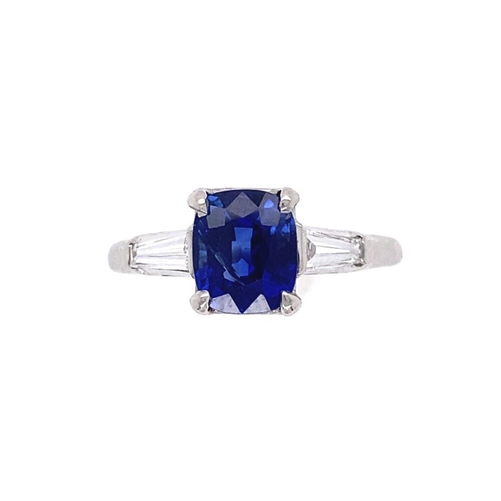 1.56ct Cushion Cut Kashmir No Heat Natural Sapphire AGL GIA in Platinum .40tcw Diamond Ring
