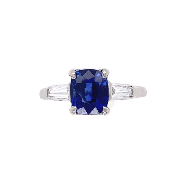 Closeup photo of 1.56ct Cushion Cut Kashmir No Heat Natural Sapphire AGL GIA in Platinum .40tcw Diamond Ring