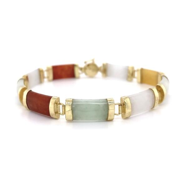 "Closeup photo of 14K YG Chinese Rainbow Jade Link Bracelet 9.4g, 6.75"""