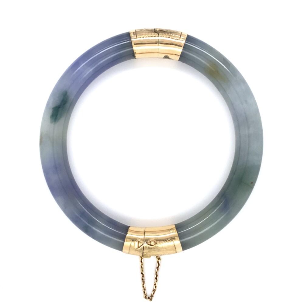 14K YG Chinese Green & Lavender Jadeite Jade Openable Bangle 46.9g