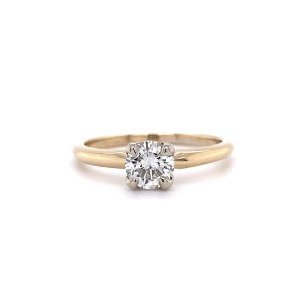 Closeup photo of .63ct Round Brilliant Diamond Solitaire Ring in 14K YG, s6.25
