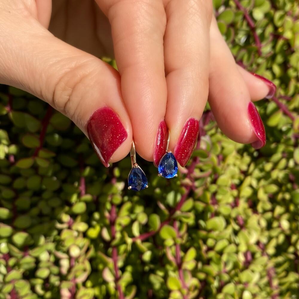 14K YG 2.38tcw Pear Shape Sapphire Drop Earrings