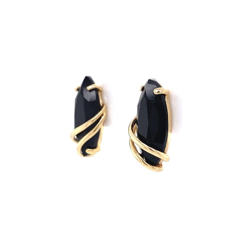 14K YG Wrapped Onyx Earrings on Post 2.4g