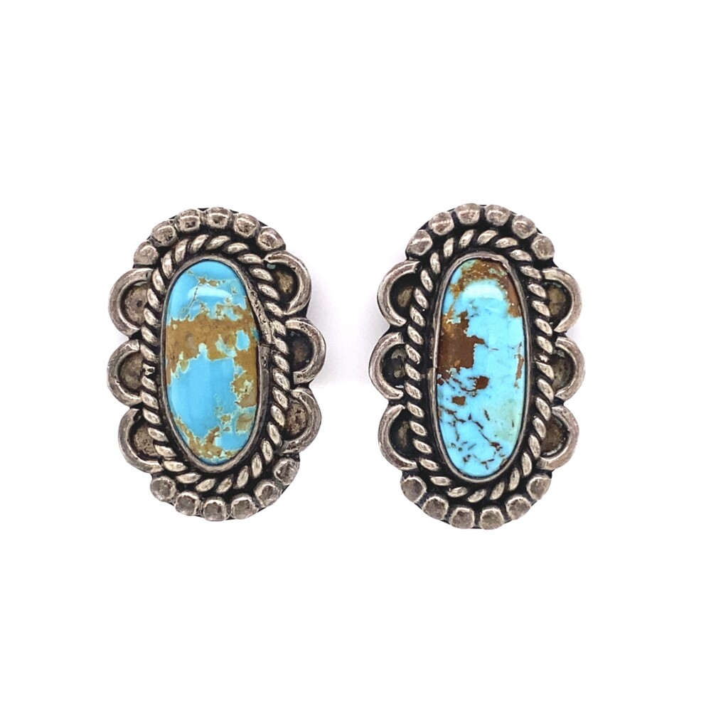 925 Sterling Old Pawn Native Oval Turquoise Earrings 8.5g
