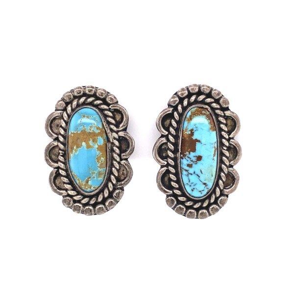 Closeup photo of 925 Sterling Old Pawn Native Oval Turquoise Earrings 8.5g