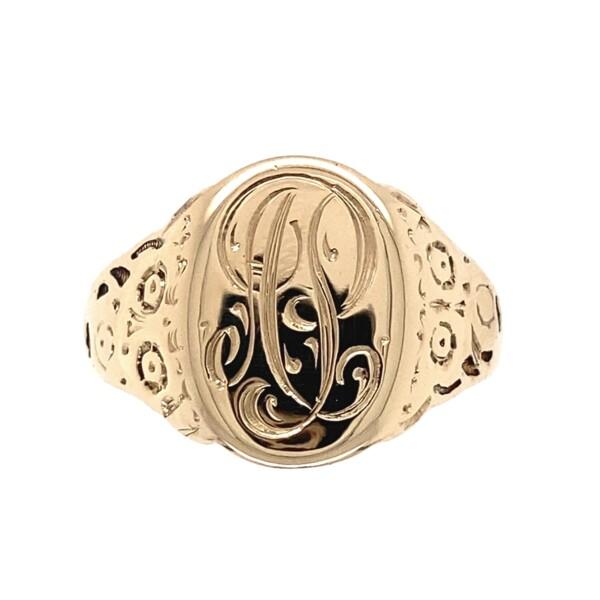 Closeup photo of 10K YG Engraved Signet Cigar Band Ring 5.2g, s10.5
