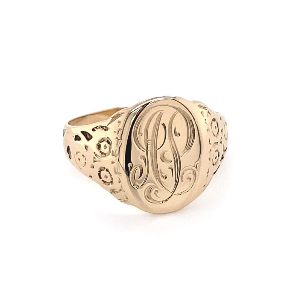 10K YG Engraved Signet Cigar Band Ring 5.2g, s10.5