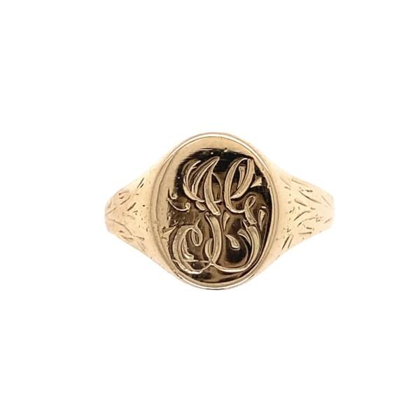 Closeup photo of 10K Engraved Signet Pinky Cigar Band Ring 1.8g, s5.5