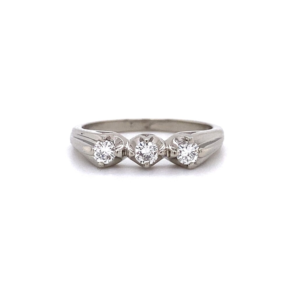 14K WG Mid-Century 3 Diamond Ring 2.6g, s5.75