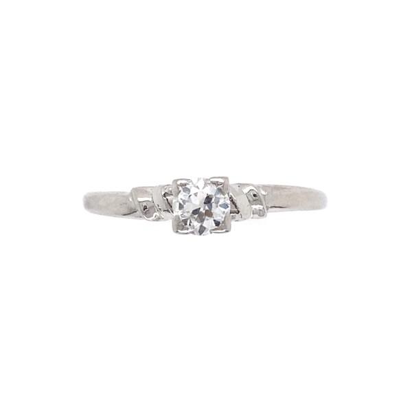 Closeup photo of Platinum Art Deco .33ct Old European Solitaire Ring 2.3g, s9.5