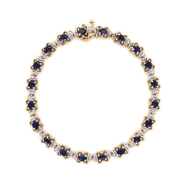 "Closeup photo of 14K YG Sapphire & Diamond Line Bracelet 8.7g, 6 7/8"""