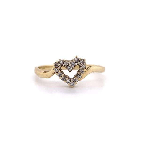 Closeup photo of 14K YG Pave .16tcw Diamond Open Heart Ring 2.0g, s8